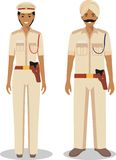 Couple of indian policeman and policewoman standing together on white background in flat style. Police concept. Flat design people Royalty Free Stock Photo