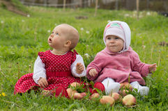 Couple of infant children on a farm Royalty Free Stock Photography