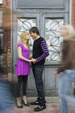 Couple inlove standing on the street Royalty Free Stock Photos