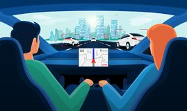 Couple inside autonomous car interior on highway traffic jam with day city skyline. Couple in self-driving autonomous smart driverless electric car on highway to royalty free illustration
