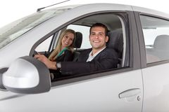 Couple inside a car Stock Photography