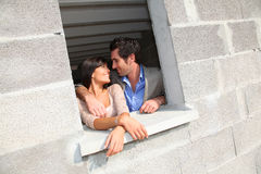 Couple inside future home Royalty Free Stock Image