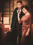 Couple inside retro train coach Stock Photography