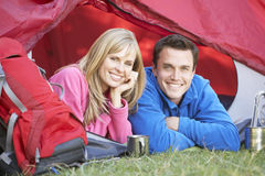 Couple Inside Tent On Camping Holiday Royalty Free Stock Photos