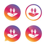 Couple insurance sign. Hand holds human group. Royalty Free Stock Image