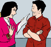 Couple interacting. Woman reading to man who is amused Vector Illustration