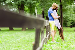 Couple intimacy outdoors Royalty Free Stock Image