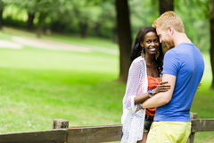 Couple intimacy outdoors Stock Image
