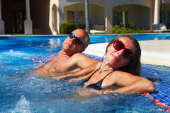 Couple in jacuzzi Stock Photography