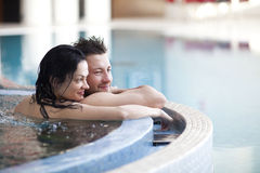Couple in jacuzzi royalty free stock photo