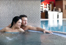 Couple in jacuzzi Stock Photos