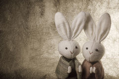 Couple Japanese rabbits and paper background. Couple cute Japanese rabbits on paper background Royalty Free Stock Images