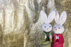 Couple Japanese rabbits and paper background. Couple cute Japanese rabbits on paper background Royalty Free Stock Photo
