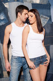 Couple in jeans. Stock Photo