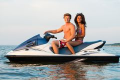 Couple on a jet ski Stock Images
