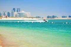Couple on the jetski ride in Abu Dhabi. UAE stock photos