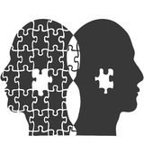 Couple jigsaw puzzle people head background. Isolated couple jigsaw puzzle people head from white background Royalty Free Stock Image