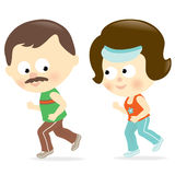 Couple jogging. Illustration of a couple jogging Stock Photography