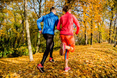 Couple jogging in autumn nature Royalty Free Stock Photo