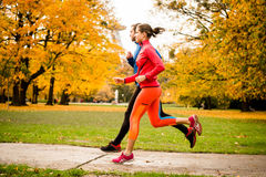 Couple jogging in autumn nature. Young couple jogging together in park - rear view Royalty Free Stock Images