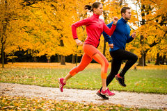 Couple jogging in autumn nature Royalty Free Stock Image