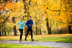 Couple jogging in autumn nature Stock Images