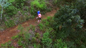 Couple jogging on forest path. On a sunny day 4k stock video footage