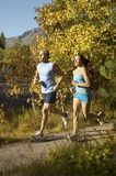 Couple Jogging On Forest Road. Man and women jogging on a path in the forest stock photo