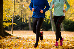 Couple jogging in nature Stock Images