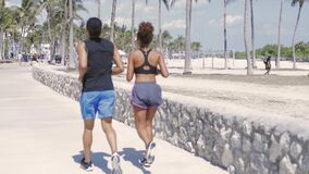 Couple jogging in the park. Back view of athletic ethnic handsome man and pretty woman jogging together in the park in sunny day stock video footage