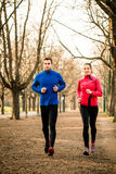 Couple jogging together Stock Images