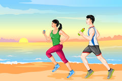 Couple jogging for wellness. Vector illustration of couple jogging for wellness Stock Photos