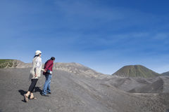 Couple journey to mount Bromo outdoor Stock Photos