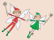 Couple of the joy winter elves Royalty Free Stock Image