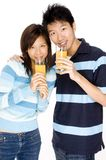 Couple With Juice Stock Photo