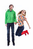 Couple jumping Royalty Free Stock Image