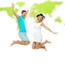Couple jumping against world map Royalty Free Stock Photography