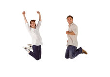 Couple jumping in the air Royalty Free Stock Photo