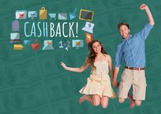 Couple jumping excitedly and Cashback text with drawings graphics Stock Photos