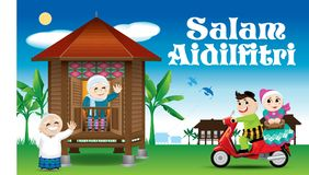 A couple is just arrive their home town, ready to celebrate Raya festival with their parents. With village scene. Vector for Hari Raya Puasa or Aidilfitri. The Stock Images