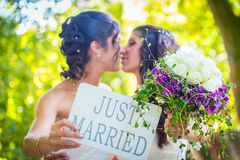 Couple with Just Married sign Stock Photography