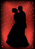 Couple just married silhouette Royalty Free Stock Photos