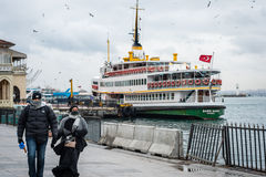 Couple in Kadikoy ferry port Stock Photo