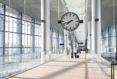 Couple Kastrup airport hall  Copenhagen royalty free stock photo