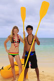 Couple with kayak Royalty Free Stock Images