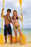 Couple with kayak Royalty Free Stock Photos