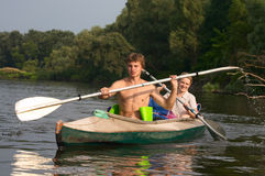 Couple of kayakers Stock Photography