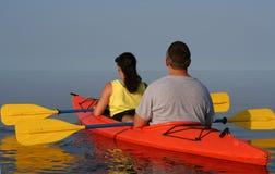 Couple Kayaking Stock Photography
