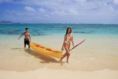 Couple kayaking Royalty Free Stock Photos