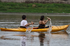 Couple Kayaking Stock Image